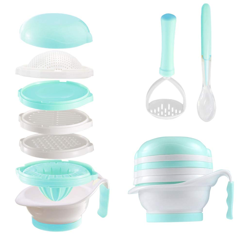 Matyz All in 1 Baby Food Maker Set - Toddler Mash Bowl with Hand Masher, Citrus Juicer, Grater - Making Homemade Baby Food - Fruits and Vegetables Masher - BPA Free - Baby Shower Gift (Mint Green)