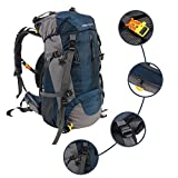 YUSHOP 65L+5L Waterproof Backpack Hiking Backpacking Packs for Outdoor Hiking Travel Climbing Camping Mountaineering with Rain Cover