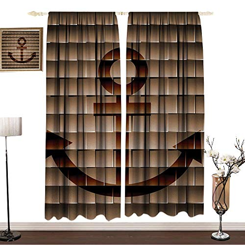 100% Blackout CurtainsW63 x L72 InchesAnchorCurtain bathroomDigital Nautical Anchor on Square Marine Life Theme Modern Home Artwork PrintCurtain on The wallTortilla Brown.GIF]()
