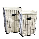 VIP Home & Garden 2 Pc Tall Wire Laundry Baskets with Canvas Bag Inserts - Vintage Storage Bins