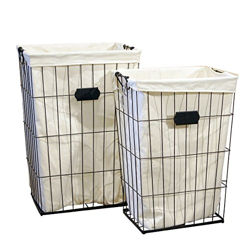 VIP Home & Garden 2 Pc Tall Wire Laundry Baskets with Canvas Bag Inserts - Vintage Storage Bins by VIP Home & Garden