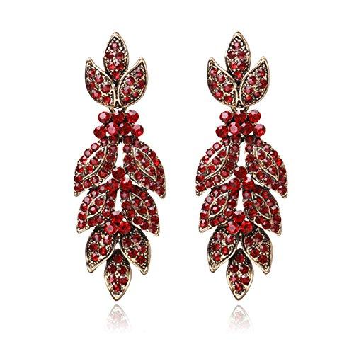 Unicra Women's Vintage Red Crystal Stud Earrings Wedding Bridal Multiple Rhinestone Earrings Chandelier Long Dangle Club Earrings for Brides and (Crystal Star Dangle Earrings)