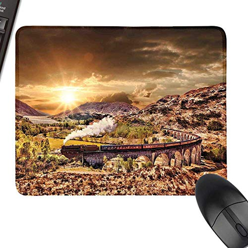 (Wizard Rectangle Mouse Pads Wizard School Express Famous Train Landscape Glenfinnan Railway Viaduct Scotland Sunset with Stitched Edges 35.4