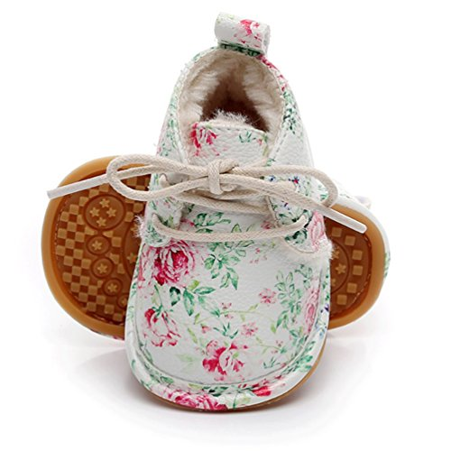 Floral Winter Warm Fur Baby Girls Boys Anti Slip Sole Thick Snow Boots Shoes Sneaker (0-6 Months/4.72inch, Green ()