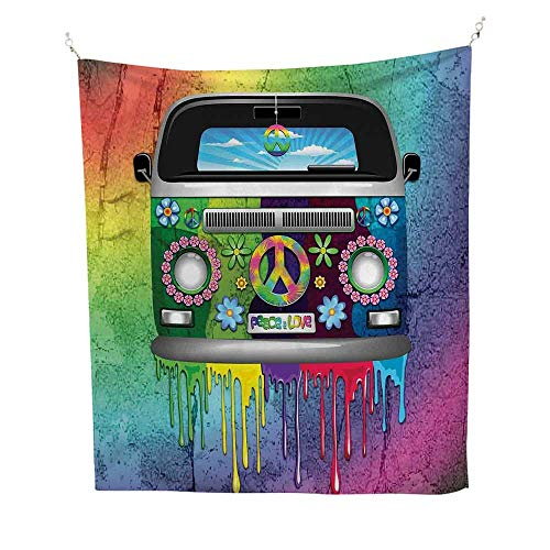 Groovyocean tapestryOld Style Hippie Van with Dripping Rainbow Paint Mid 60s Youth Revolution Movement Theme 54W x 72L inch Large tapestryMulti (Bohemian Revolution)