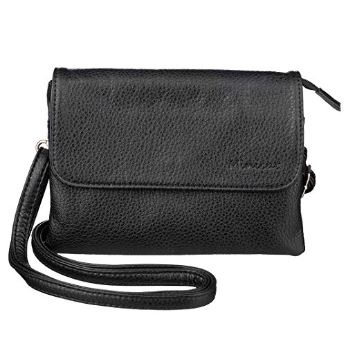 Price comparison product image MINICAT Roomy Pockets Crossbody Cell Phone Purse Wallet Bag With Magnetic Button (Black-Cross)