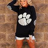 Meolin Lovely Paw Print Long Sleeve T-Shirt Cat Lover Gift ,black,S
