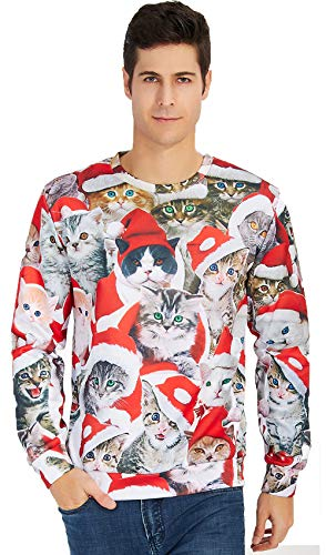 Leapparel Ugly Christmas Sweater. 3D Cat print