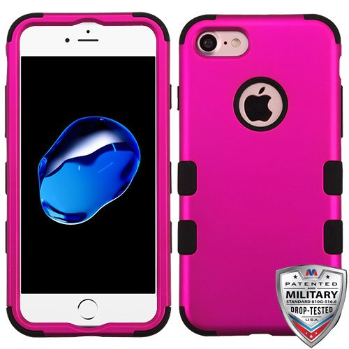 Asmyna Cell Phone Case for Apple IPhone 7 - Titanium Solid Hot Pink/Black
