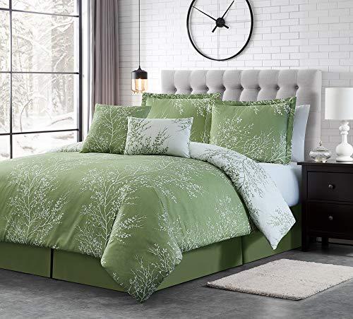 Spirit Linen 6pc Warm and Cozy Comforter Set Platinum Bedding Collection Baby Soft Texture Plush Bed Blanket (Sage, King)