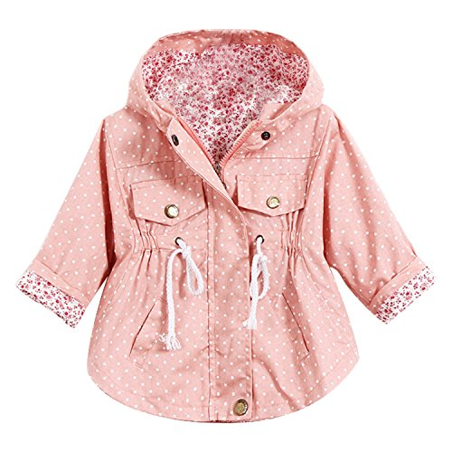Evelin LEE Kids Girl Toddler Girls Spring Fall Trench Coat Wind Hooded Jacket Pink 3-4Years (Toddler Spring Jackets)