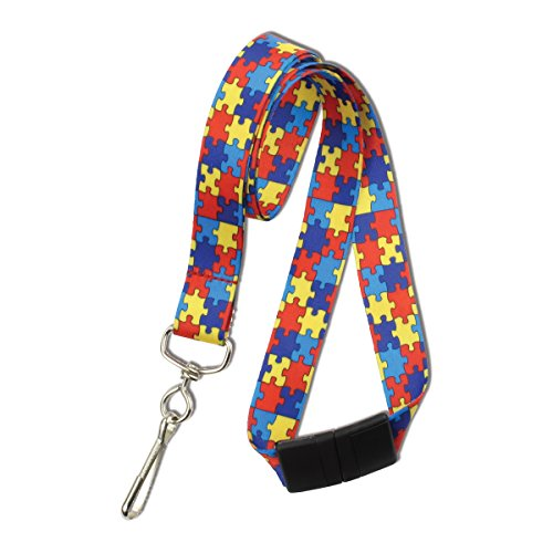 Red Autism Awareness Flat Breakaway Lanyard With Swivel Hook by Specialist ID, Sold Individually