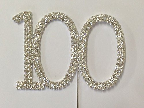 Rhinestone Number 100 Birthday 100th Anniversary Cake Cupcake Topper Flower Pick -