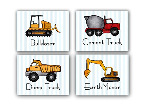 CONSTRUCTION! Boy's bedroom Wall Art - Set of 4 Decorative Prints: TRUCKS & HEAVY EQUIPMENT (8
