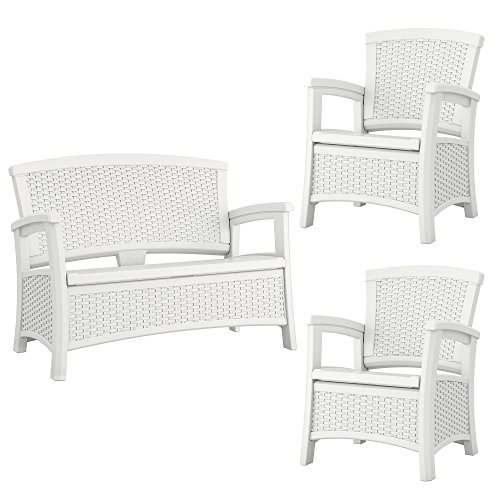 Suncast Elements Resin Wicker Design Loveseat with Storage + Club Chairs (Pair) (Club White Chairs Wicker)