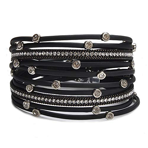 TASBERN Women Leather Wrap Bracelet in Goldplated Metallic Crescents and Crystal Cuff Jewelry for Ladies Girls (TAS012-Black) (Black Leather Jewelry)