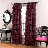 Lorraine Home Fashions Gypsy Zebra Ruffle Window Panel, 56-Inch by 63-Inch, Red/Black