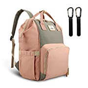 PIPI Bear Diaper Bag,Multi-Functional Waterproof Baby Diaper Backpack with Insulated Pockets,Stylish and Durable Travel Bag for Mom and Dad (Pink&Grey)