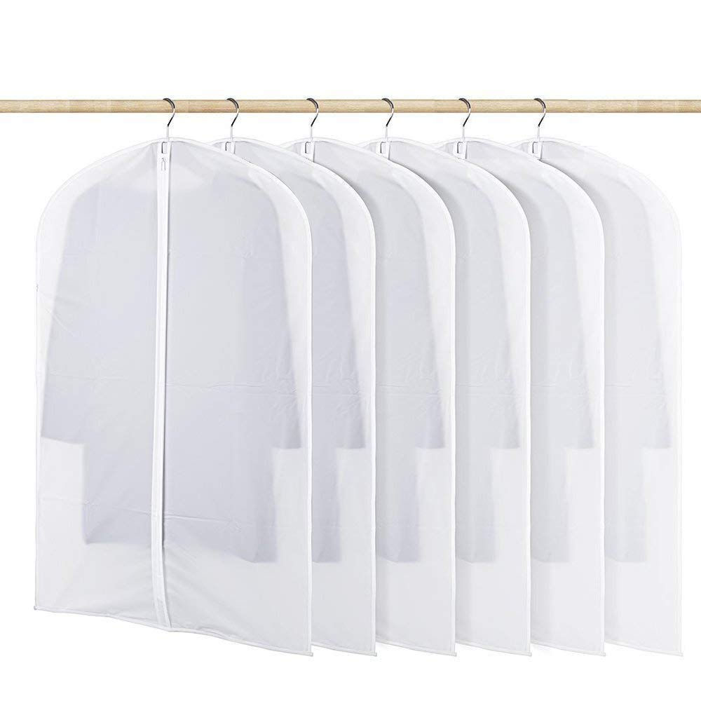 Clear Garment Bag Odorless, 6 Pack Breathable PEVA Dustproof Closet Bags for Clothes Storage, Full Zipper Garment Covers for Home Travel Kids Men Women (M), 24'' x 40''