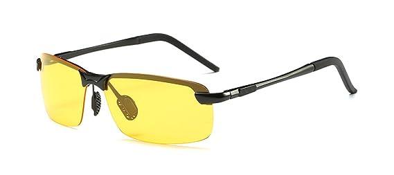 HYP Lunettes de polarisées Lunettes de conduite avec monture en métal Incassable 100% anti UV400 Conduite de nuit lunettes demi-boîtier aluminium lunettes high gloss, noir, jaune et vert Film de visio