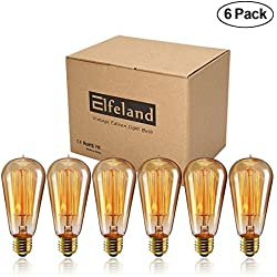 Vintage Edison Bulb, Elfeland 60w Dimmable Squirrel Cage Filament Vintage Light Bulbs ST58 Antique Teardrop Design Retro Pendant Lights for Restaurant Home Office E26/E27 110-130V (6 Pack)