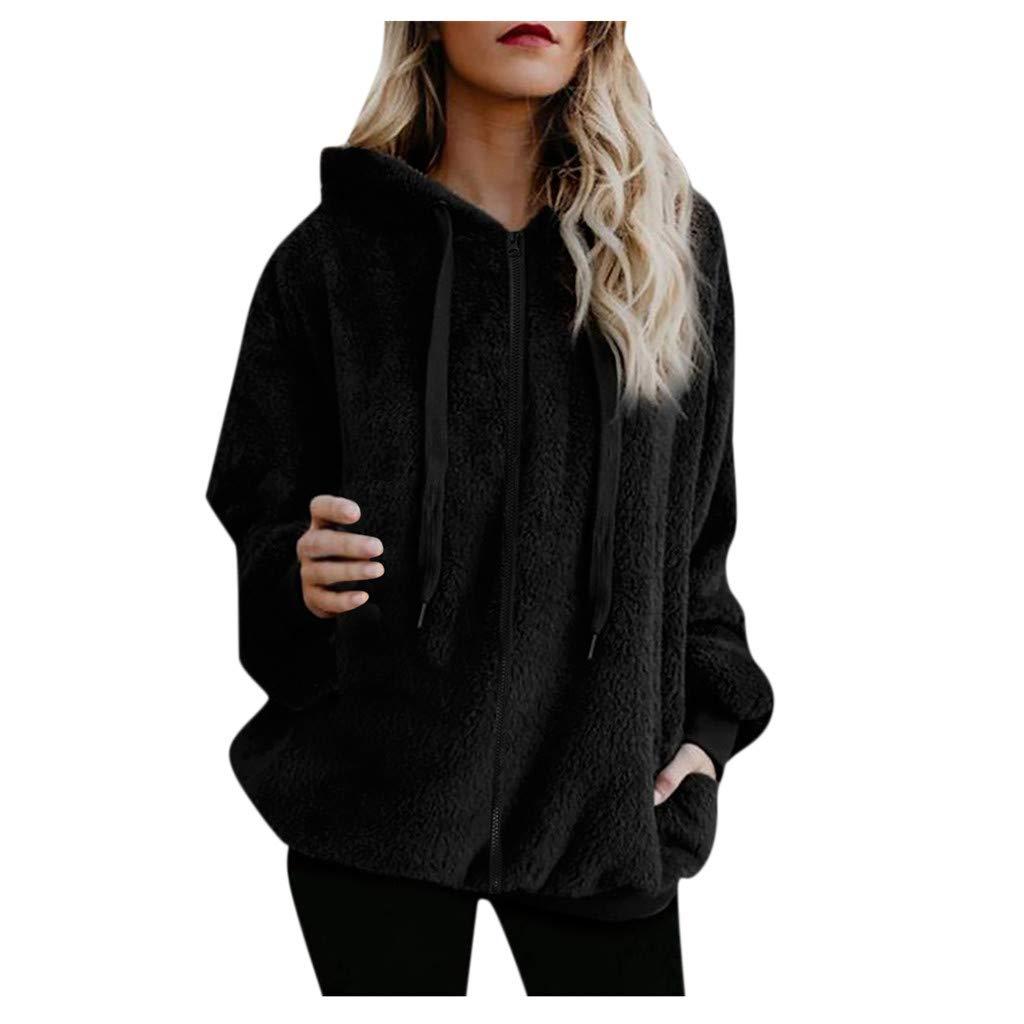 Shusuen Winter 2019 Fashion Womens Fuzzy Casual Loose Sweatshirt Hooded with Pockets Outwear Black by Shusuen
