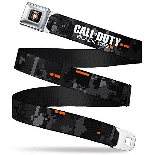 Duty Seat - Buckle-Down Seatbelt Belt - CALL OF DUTY-BLACK OPS III Digital Camo Grays/Black/Orange/White - 1.5