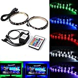 JahyShow Bias Lighting TV Backlight for HDTV LED Strips Lights with 24 Key Remote Control, 2 RGB LED Strip Home Multi Color RGB Neon Accent Lighting for Flat Screen TV Accessories, Desktop PC