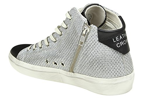 Leather Crown Hi Top Sneakers Donna W13315 Tessuto Argento