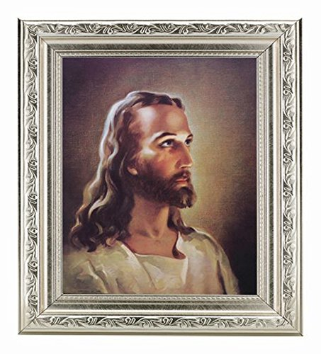 Sallman Head of Christ Print in Fine Detailed Scroll Carvings Antique Silver Frame Under Glass. ()
