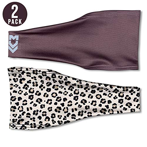 (MUV365 Headbands for Women | Workout, Running, Yoga, Wide Sports Head Bands | Headband Protects with SPF 50+, Keeps Sweat from Dripping in Eyes & is Non-Slip (One Size Fits Most, Leopard + Purple))