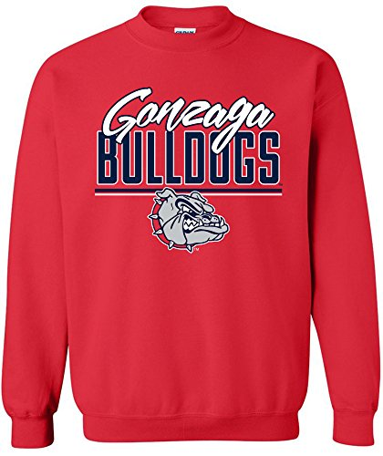 Image One NCAA Gonzaga Bulldogs Adult NCAA Script Crewneck Sweatshirt,Large,Red