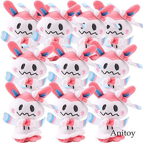 VIETCJ Anime Mimikyu Cosplay Sylveon Flareon Eevee Umbreon Jolteon Vaporeon Espeon Plush Pendants Soft Dolls Stuffed Toys 10Pcs/Lot -Multicolor Complete Series Merchandise