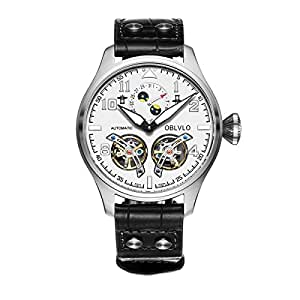OBLVLO Mens's Tourbillon Pilot's Watches Complete Calendar Steel Automatic Watches OBL8232 (NOBL8232-YWB)