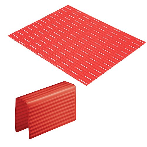 mDesign Kitchen Sink Protector Mat Pad Set, Quick Draining - Use In Sinks to Protect Surfaces and Dishes - Ribbed Pattern - Includes 1 Sink Saddle, 1 Sink Mat - Set of 2 - Red (Ribbed Grade Pattern)