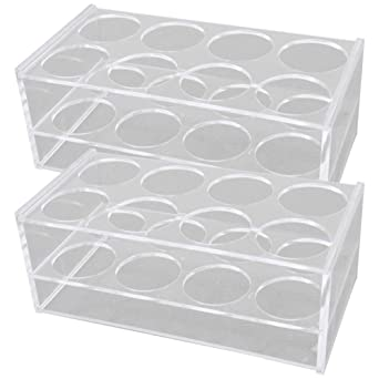 Othmro Clear Plastic Centrifuge Tube Holder Stand Rack Storing Bracket Rack 24 Positions 2pcs