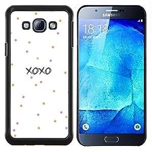Besos de amor de San Valentín del lunar- Metal de aluminio y de plástico duro Caja del teléfono - Negro - Samsung Galaxy A8 / SM-A800