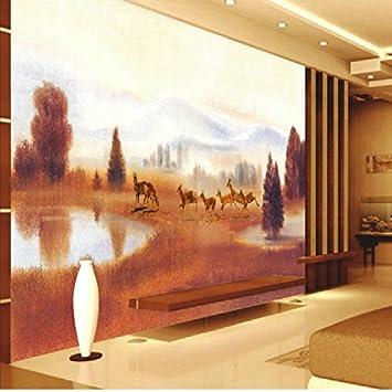 Leegt 3d Papier Peint Wallpaper Fresque Mural Prairie Peinture Etang