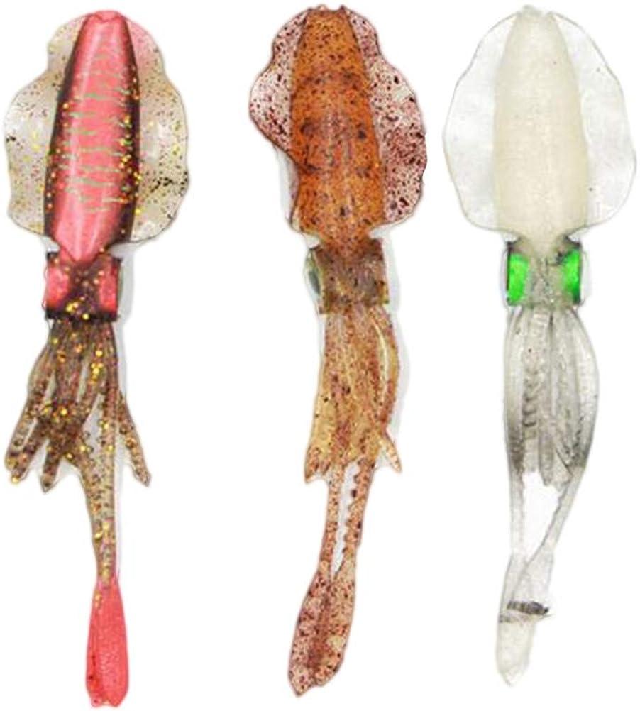 LIOOBO 3 Piezas Señuelos de Pesca Calamar Cebos Suave Pulpo Señuelo de Pesca Cebo Artificial Aparejos de Pesca