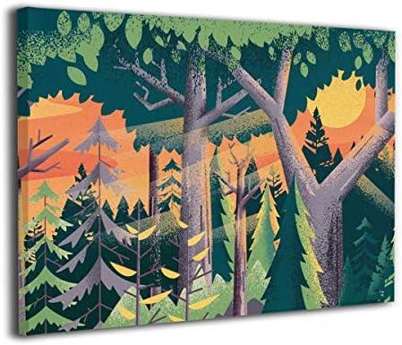 K-Duck 画 森林 アートパネル アートフレーム アートポスター Art キャンバス絵画 壁掛け インテリア 現代 壁飾り