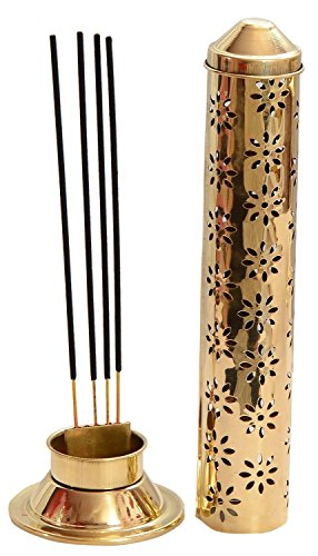 CraftVatika Safety Incense Stick Holder Burner Metal Brass Handmade Agarbati Burner Ash Catcher Cone Cylindrical Shaped Floral Jali Work | Chtistmas Gifts | X'Mas Decoration