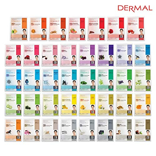 DERMAL 39 Combo Pack Collagen Essence Full Face Facial Mask Sheet - The Ultimate Supreme Collection for Every Skin Condition Day to Day Skin Concerns. Nature made Freshly packed Korean Face Mask ()