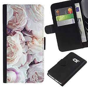 Samsung Galaxy S6 EDGE / SM-G925(NOT FOR S6!!!) Modelo colorido cuero carpeta tirón caso cubierta piel Holster Funda protección - Pink White Roses Spring Nature