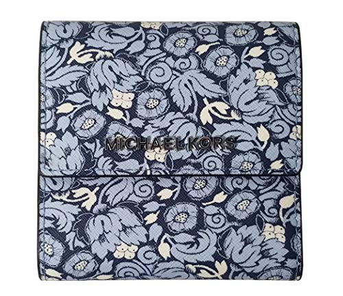 (Michael Kors Jet Set Travel Small Card Case Carryall Leather Wallet in Navy Poppy Print)