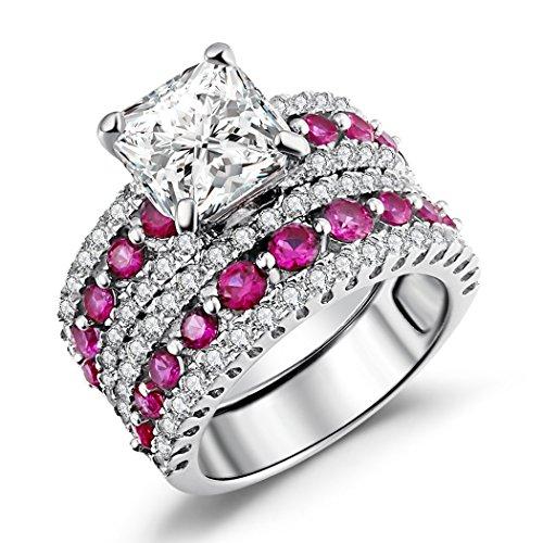 Caperci Asscher Cut Bridal Ring Sets, Created-Ruby & Cz Cubic Zirconia Asscher-Cut Wedding Engagement Ring Set Size 8