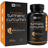 Sports Research Turmeric Curcumin 500mg Enhanced w/Black Pepper & Organic Coconut Oil 120 Gels