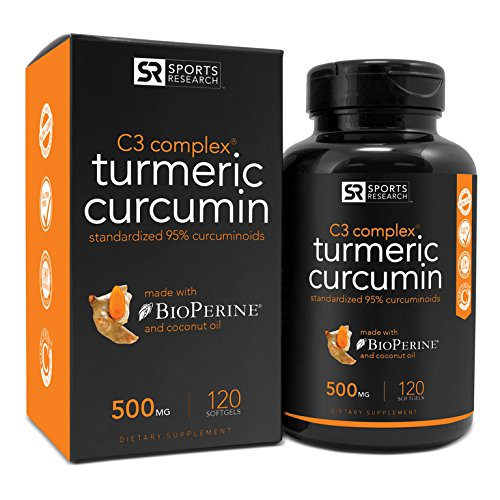 Turmeric Curcumin C3 Complex 500mg, Enhanced with Black Pepper & Organic Coconut Oil for Better Absorption; Non-GMO & Gluten Free - 120 Liquid Softgels