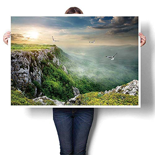 (Wall Art Painting,Birds Over Plateau at The Cloudy Sunset On Canvas Modern Decoration Print Decor for Living Room,16
