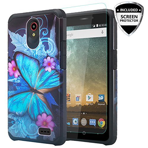 COVERLABUSA for Compatible for ZTE Maven 3 (Z835) Case/ZTE Overture 3 Case/ZTE Prelude Plus (4G LTE) Case w/[Tempered Glass Screen Protector] Soft Silicone Slim Hybrid Phone Case - Blue Butterfly