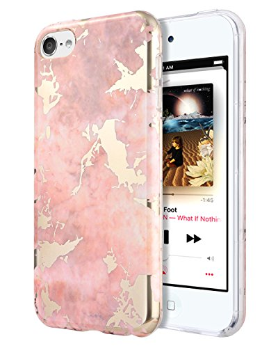 Dailylux iPod Touch 6 Case,iPod Touch 5 Case,iPod Touch 7 Case,Hard PC+ Soft TPU Edge Protection Ultra Thin Shockproof Air Cushion Technology Cover for iPod Touch 5/6/7th Generation-Rose Gold Marble (Touch Ipod Gold Case)